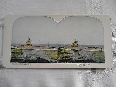 ANTIQUE Stereoview U. S. S. K-6 MILITARY SHIP Stereo Card MULLER
