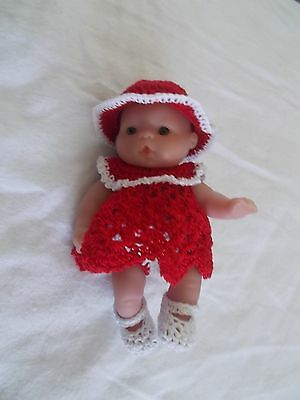 fits 5 inch itty baby 4 piece red with white trim dress hat shoes undies