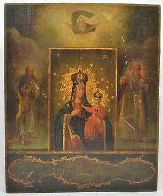 OZERYANSKAYA VIRGIN MARY - ANTIQUE OLD RUSSIAN HAND PAINTED ICON, 270mm x 220mm