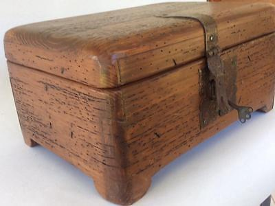 Antique/Vtg Wormwood CHEST wood trunk STRONG BOX SAFE casket treasure document