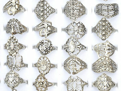 R  10PCS Wholesale Lots Jewelry Mixed Style Tibet Silver Vintage Rings Free Ship
