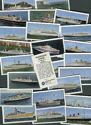 """Northern Co-Op 1963 Set Of 25 """"passenger Liners"""" Ship Boat Trade Cards"""