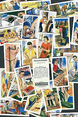"Bt B.t. Tea 1962 Set Of 25 ""occupations"" Work Jobs Tea Cards"