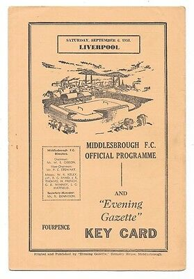 Middlesbrough v Liverpool, 1958/59 - Division Two Match Programme