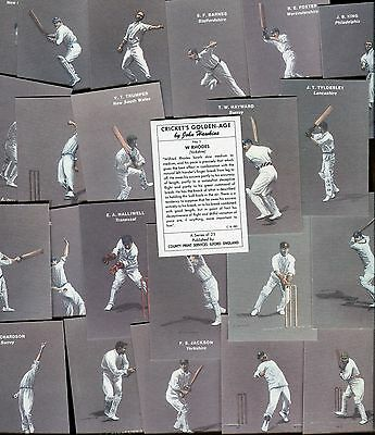"""County Print 1991 Full Set Of 25 """"cricket's Golden Age"""" Trade Cards"""