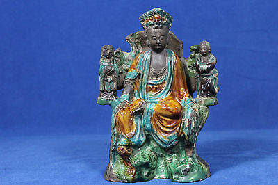Antique late Ming dynasty Chinese sancai glazed ceramic figure Guanyin - 17th