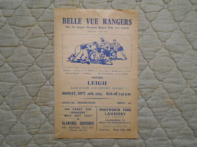Belle Vue Rangers V Leigh Lancashire Cup 2Nd Round Match Programme 1954