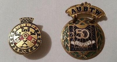 2 Trade Union Badges AUBTW