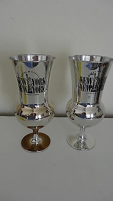 2 New York New York Las Vegas Casino Mirror Hurricane glasses Silver