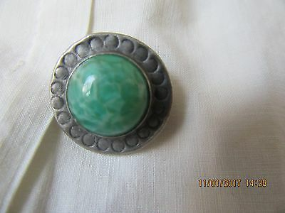 Antique Arts and crafts Brooch peking glass and pewter