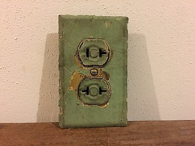Antique Vintage Brass Outlet Cover Plate with 2 2 Prong Outlets