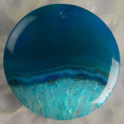 T51815 47x7 Crystal Agate Round Pendant Bead