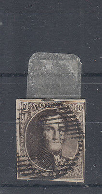 Belgium 1849/50 A Fine Used 10c Value On Hand Made Paper SG3 Basse 3?
