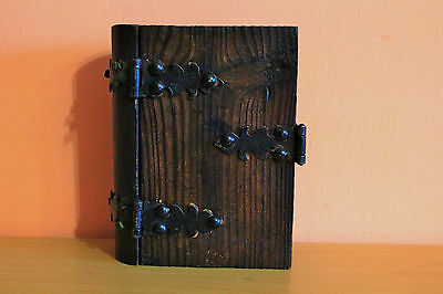 Antique Wooden & Cast Iron Box Book Shape Wood Jewelry Box Vintage Trinket Box