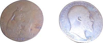 USED British Edward VII 1910 half Penny Coin (One Coin Only) (D.T)