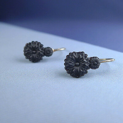 Victorian Sterling Silver Mourning Earrings / French Jet Dormeuses Leverback
