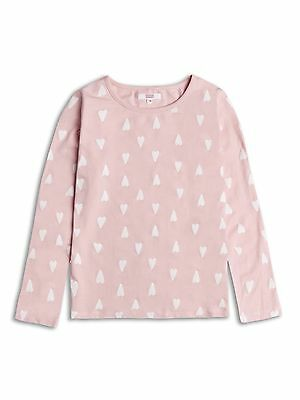 Girls Long Sleeve Top , Pink With Hearts Age 4-5 Years