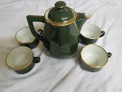 Apilco green / gold coffee pot and 4 cups.