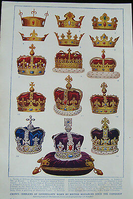 Double Sided Print c1920 Crowns Emblems Of Sovereignty