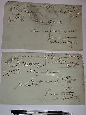Tyne Dock Station, North Eastern Railway: 2 Goods Dept Memos from 1901.