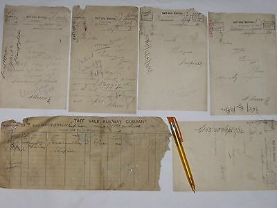 Taff Vale Railway 6 items of paperwork 1897-1902.