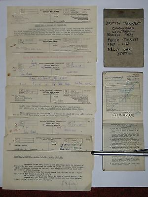 Selly Oak Railway Station - ephemera 1950s/60's: 2 excess fare books, 6 memos.