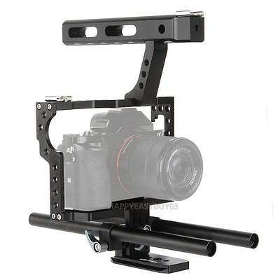 15mm Rod Rig DSLR Camera Video Cage Kit Stabilizer + Top Handle Grip for Sony A7