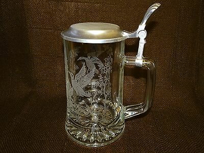 German Etched Glass Stein Tankard With Pewter Lid