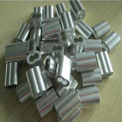 "Aluminum Swage Sleeves for 1/4"" Wire Rope Cable: 50, 100 pcs"