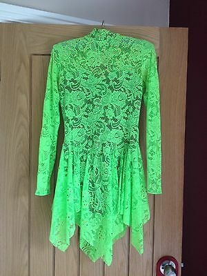 Lime Green Lace Dance Costume Inspired By Esme Size 5A/size 8 Ladies