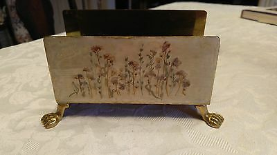 Brass Footed Napkin Holder Dried Floral Front under Clear Coating Lovely