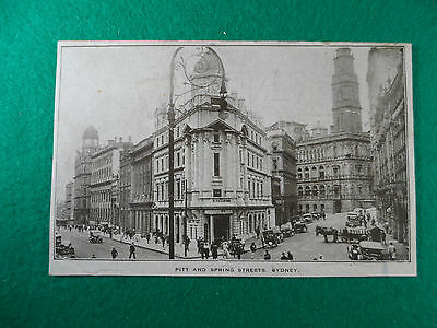 Early 1900's N.s.w Postcard Pitt And Spring Streets, Sydney