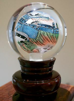 Chinese Signed Hand Painted Great Wall of China Globe Paperweight & Stand