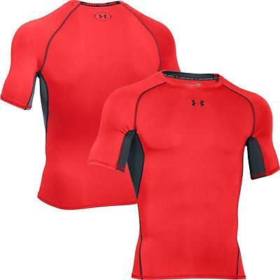 """Under Armour Heatgear """"Armour"""" Compression T-Shirt  ROCKET RED  NEW."""