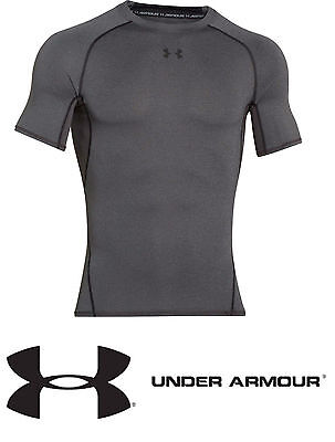 "Under Armour Heatgear ""Armour"" Compression S/Sleeve T-Shirt  CARBON HEATHER NEW."