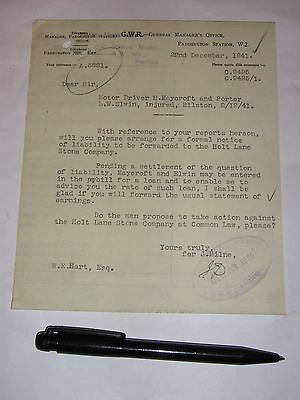 Great Western Railway, Bilston: letter 1941 re injury to Motor Driver & Porter.