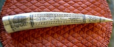 "Scrimshaw Replica Walrus Tusk REPLICA  CRIBBAGE BOARD 15 "" around curve"