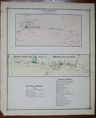 1873 MAP of STANTON - WHITE HOUSE & MECHANICSVILLE HUNDERTON CO NJ