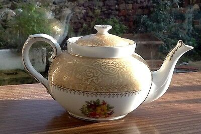 Vintage George Jones & Sons Crescent China Gilded And Floral White Teapot
