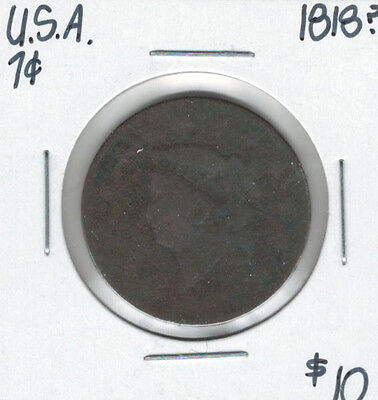United States USA 1818? Large Cent Coronet Head
