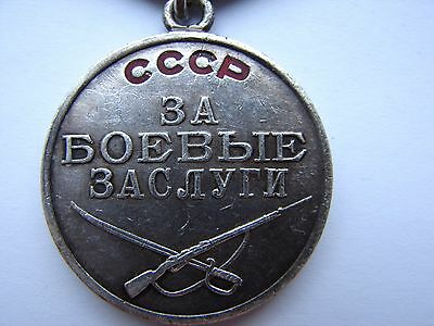 Soviet Russian WWII Medal for Battle Merit LOW #1026925  For Combat Service USSR