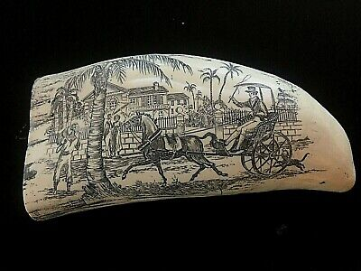 "VERY NICE DETAILED Scrimshaw Sperm whale tooth resin replica ""WEARING  & CO. 7"""