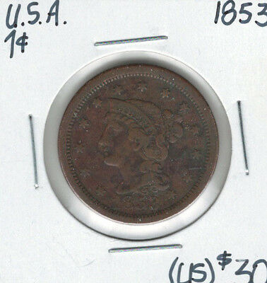 United States USA 1853 Large Cent Braided Hair