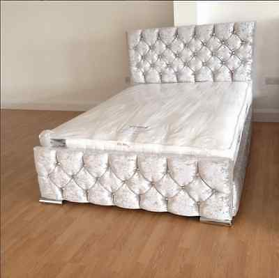 Galaxy Crushed Velvet Fabric Upholstered Bed Frame, 4'6ft Double, 5ft kingsize!