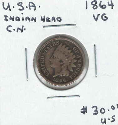 United States USA 1864 Cent VG Indian Head