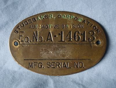 Original STUDEBAKER Corp. Brass Serial Number Plate SOUTH BEND INDIANA