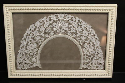 """STUNNING Antique Floral Lace Ladies Collars Framed, 12"""" Collar, 10"""" x 15"""" Frame"""