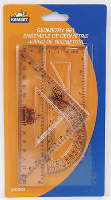 New Math Clear Geometry Set. 3 Rulers(2 Triangle Rulers),Protractor,FreeShipping