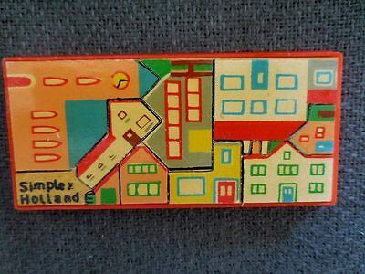 Vintage Wooden Simplex Town Puzzle w/Case Made In Holland Free Ship