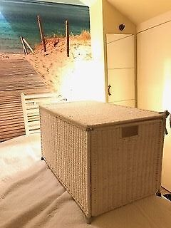 Large White Wicker Ratten Chest Storage Trunk Box - Blanket Linen Basket